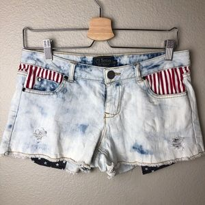 Pants - Denim Shorts with Stripes and Stars  in Medium